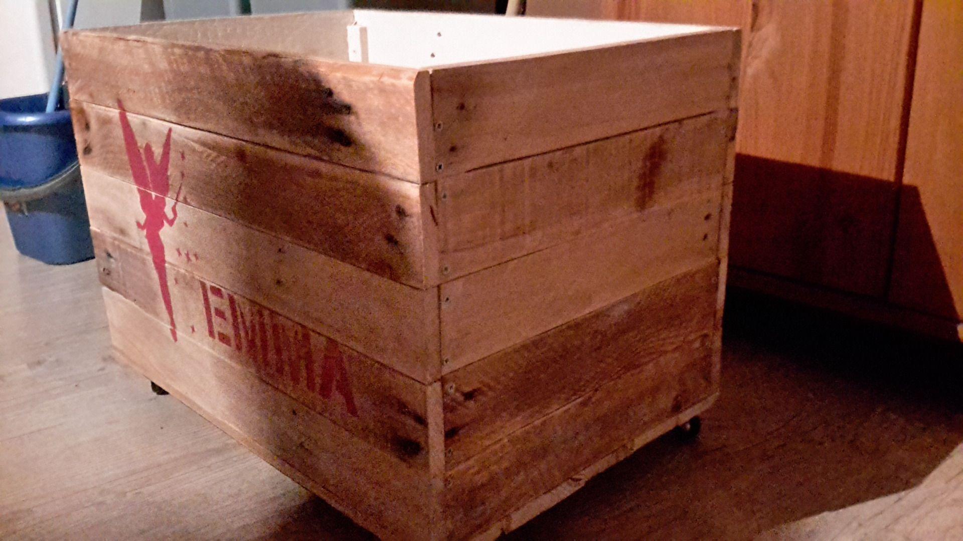 Caisse Bois À Roulettes coffre à jouets en bois de palette, caisse de rangement sur