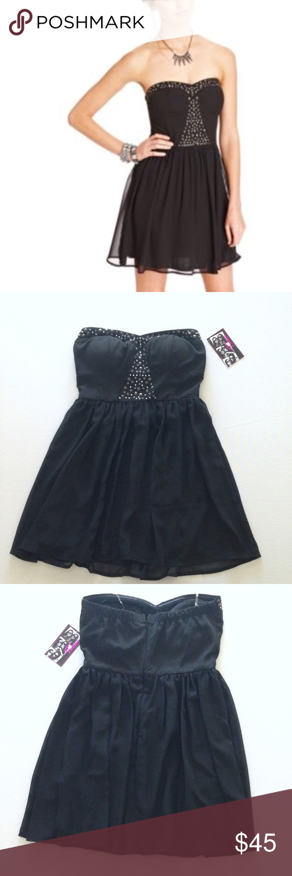 """Trixxi Studded Strapless Dress Black NWT Trixxi Studded Strapless Dress Black. A-Line Silhouette, Fully Lined, Metallic Studded Bust, Back Concealed Zipper Closure, Stretch Band Chest, Lightly Padded Chest, Chest 15"""", Waist 14"""", Length 24"""". Excellent Condition - NWT - No Flaws No Fading. Retail $60.00 #0223170218 ✨Please keep in mind that measurements are provided only as a guide and are approximate. Color appearance may vary depending on your monitor settings. Trixxi Dresses Strapless"""