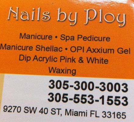 Nails By Ploy 9270 Sw 40th St 305 300 3003 Ploy S Quaint Studio Is Nothing To Brag About But Her Fast Deta Manicure And Pedicure Opi Axxium Pedicure Spa