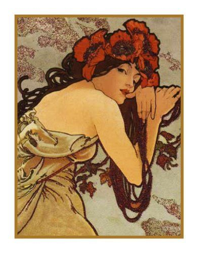 Summer by Alphonse Mucha Counted Cross Stitch or Counted Needlepoint Pattern