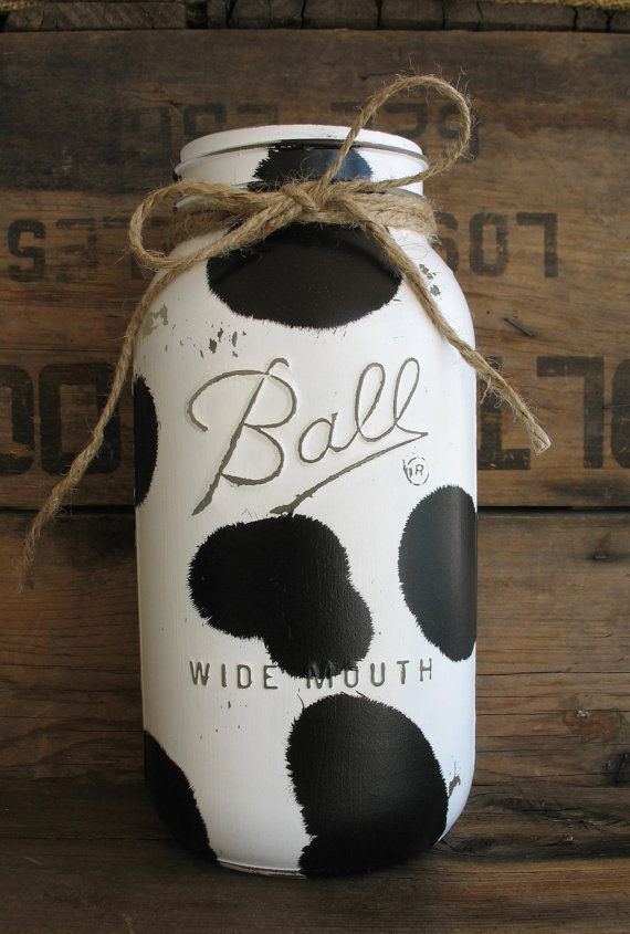 ON SALE NOW!!! Set Of 3 Painted Mason Jars, Rustic Country Cow Print Kitchen Decor, Cow Print Mason Jar, Black & White Mason Jar,
