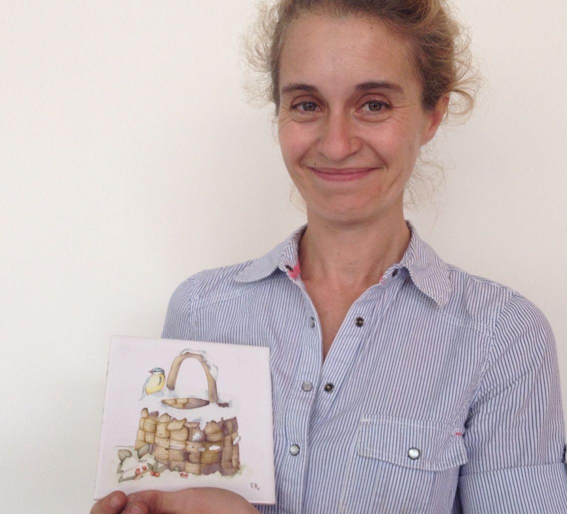 Alumna de 1er año año del Profesorado de #pintura en #porcelana #art #flower inbox@mabelblanco.com