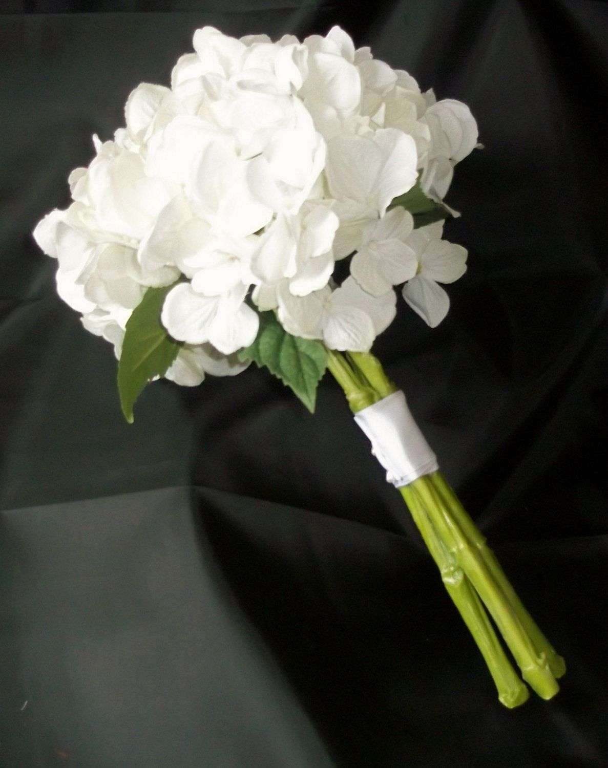 True touch white hydrangea wedding bouquet rainbow