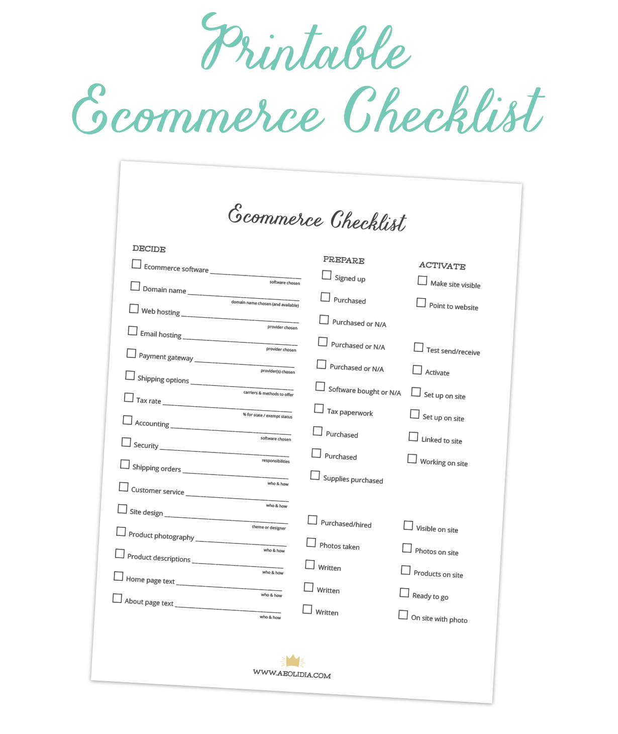 Printable Setup Checklist Small business