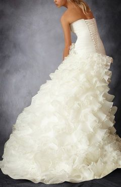 Organza Satin Wedding Gown With Ruffles Skirt - OuterInner.com