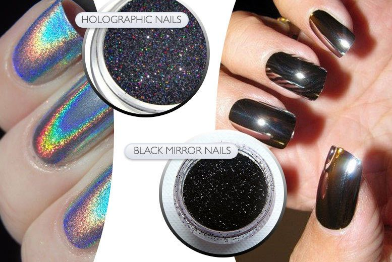 Magic Mirror Nail Powders - New colours. Holographic or Black ...