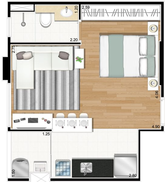 Apartamentos studios decorados pesquisa google plantas - Plantas para dormitorio ...