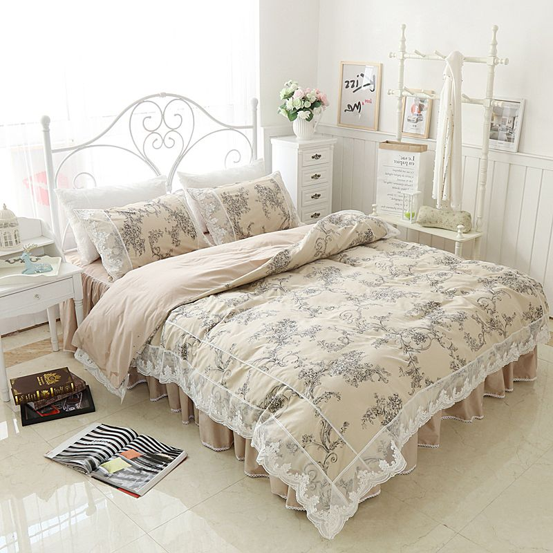 Light Tan Bedding Set Queen Size Cotton Flower Bed Covers Lace