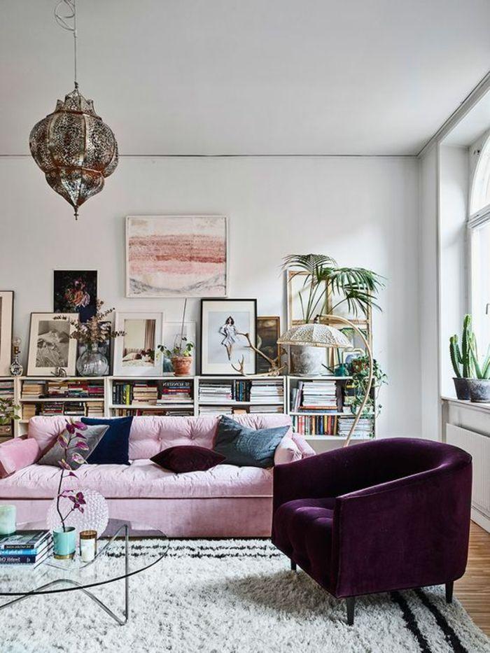 deco salon gris plafonnier oriental tagre bibliothque peintures artistiques sofa rose