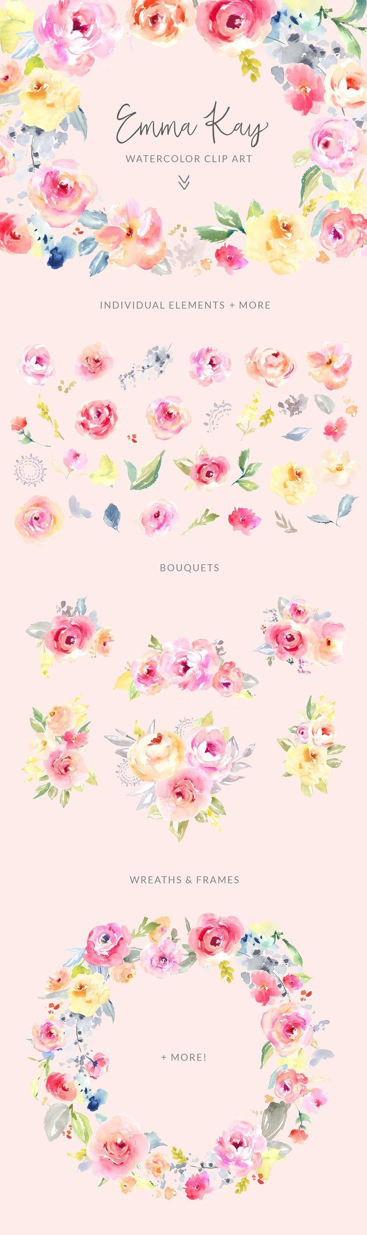 Ad emma kay watercolor clip art flower by angie makes on