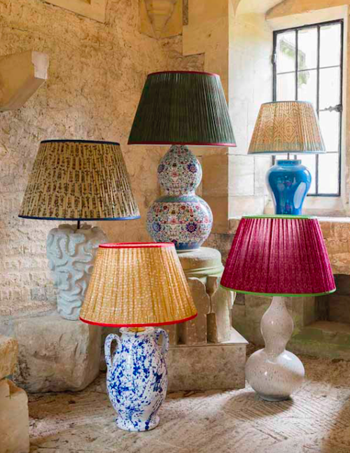Handmade hand painted hand glazed ceramic lamps and pleated fabric lampshades made