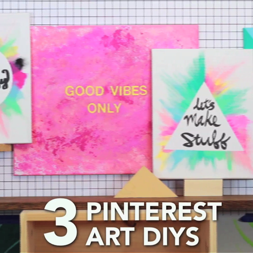 3 Pinterest Art Diys More Craft Ideas Diy Art Diy Videos Diy