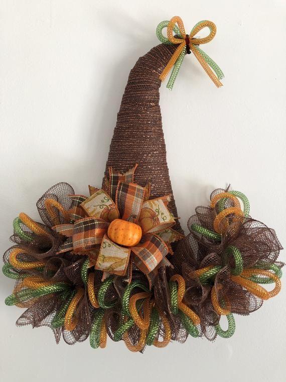 16 x 18 Fall/Autumn Mesh Scarecrow Hat Door Hanger/Wreath - Brown #scarecrowwreath