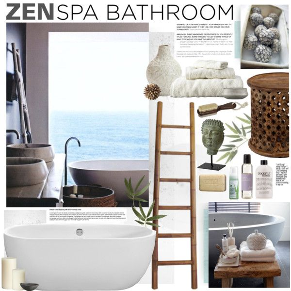 Zen spa bathroom by bellamarie on polyvore for Zen bathroom accessories