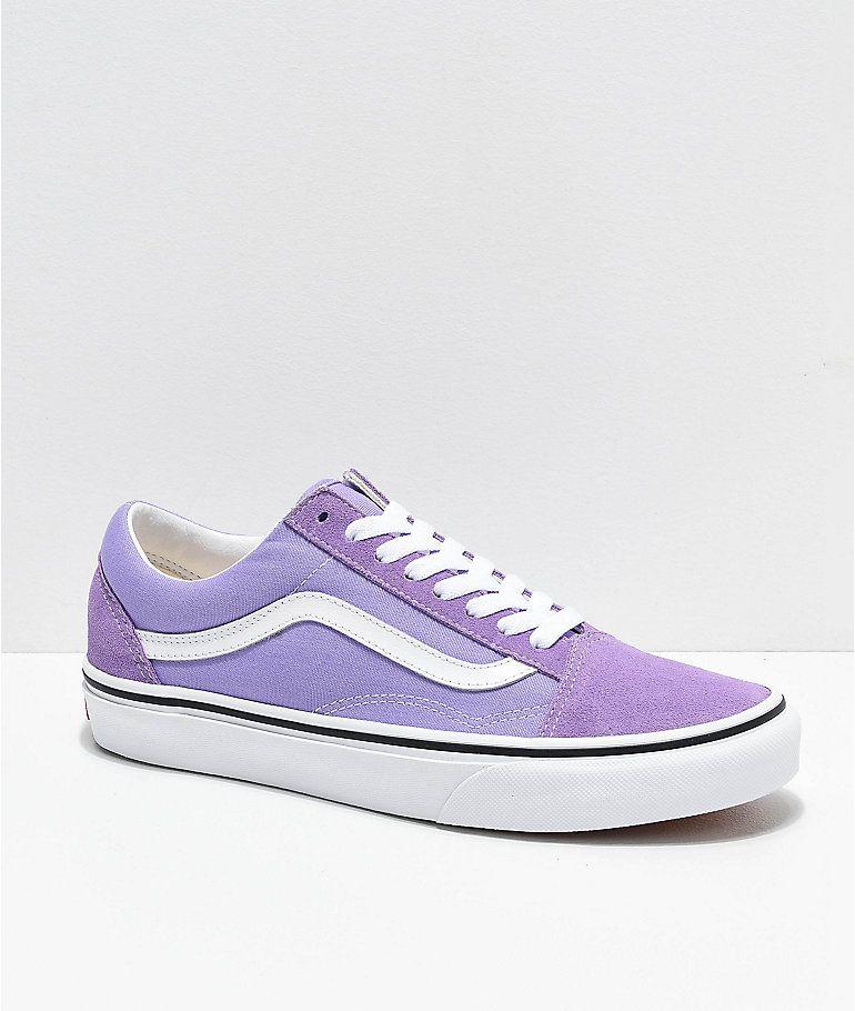 Vans Old Skool Violet & White Skate Shoes   Zumiez   Skate shoes ...