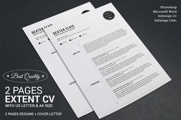 2 Pages Full Extent Resume CV Resume cv, Template and Cv template