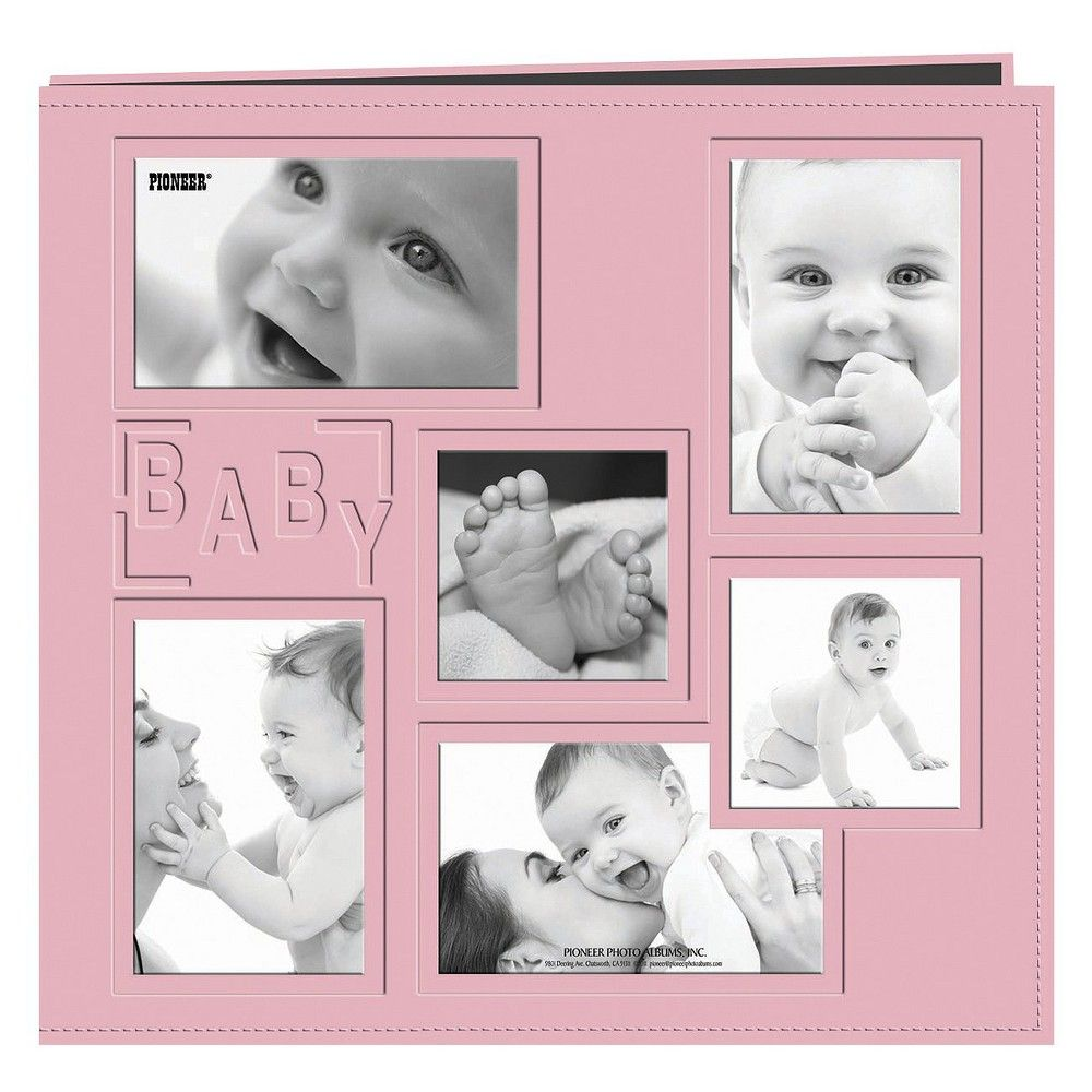 Baby Collage Frame Sewn Embossed Cover Postbound Album - Pink (12x12 ...