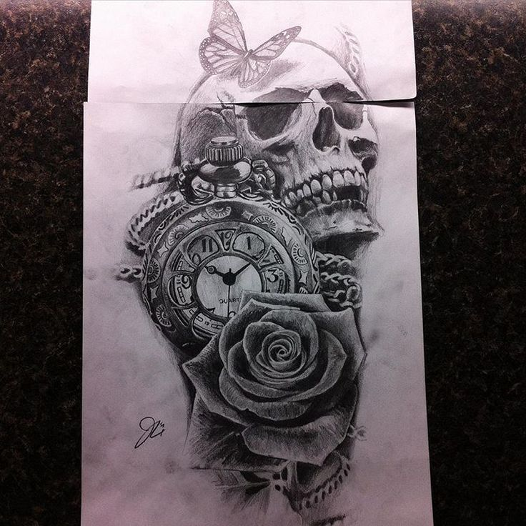 Pin by Asis Allende on Tattoo ideas Clock, rose tattoo