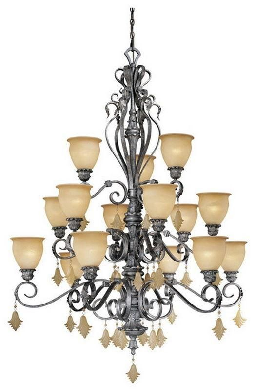 Vaxcel Lighting MM-CHU015 AE Montmarte Collection Fifteen Light Hanging Chandelier in Athenian Bronze Finish