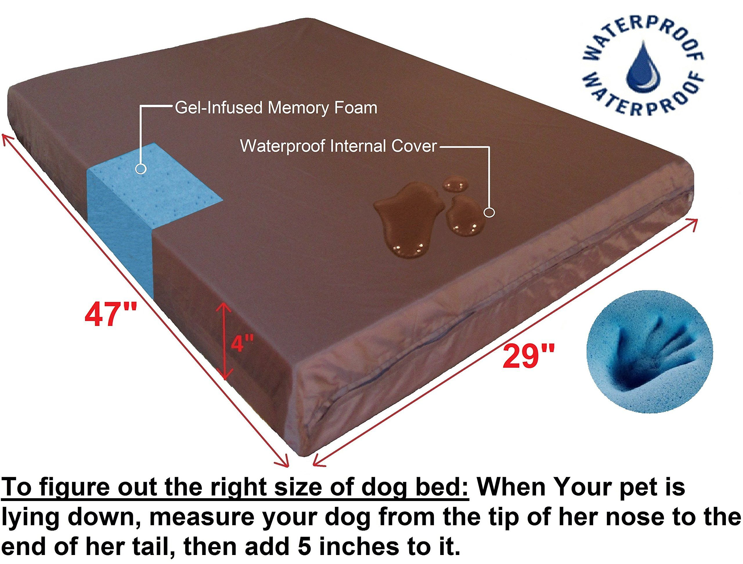 Dogbed4less Extra Large Orthopedic Cool Memory Foam Dog Bed