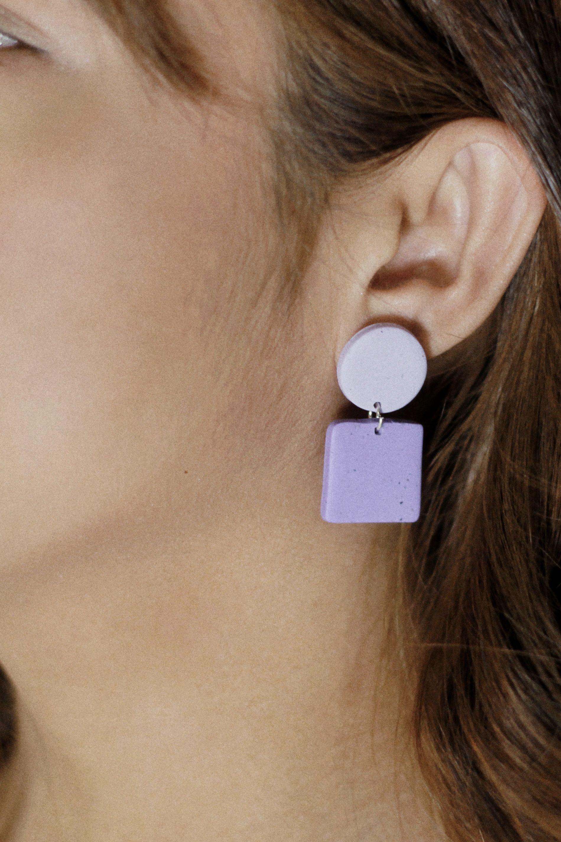 Polymer Clay Earrings Dangle Earrings Pop Art Diamond in Blue and Orange