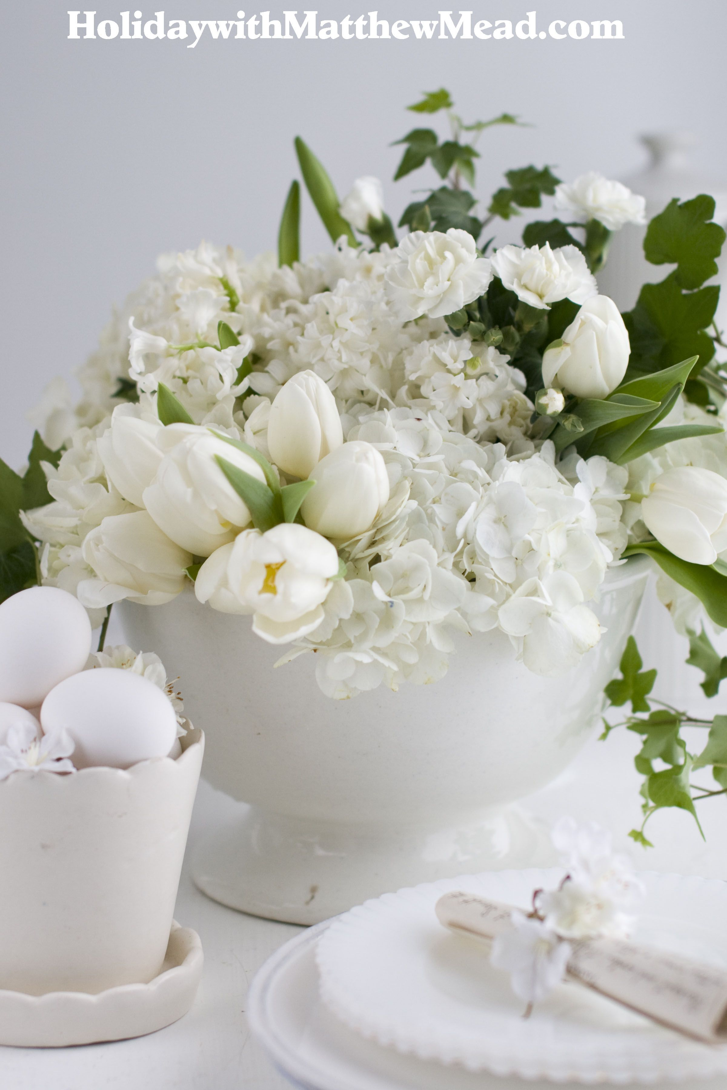 Ironstone footed bowl with an profusion of white blooms. www.HolidaywithMatthewMead.com