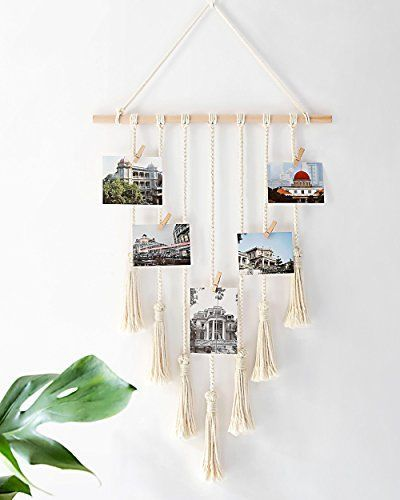 #Boho #Clips #decor #Display #Hanging #home #Macrame #Mkono #Organizer #photo #pictures #Wall #Wood Mkono Hanging Photo Display Macrame Wall Hanging Pictures Organizer Home Decor, With 25 Wood Clips #amazonhomedecor