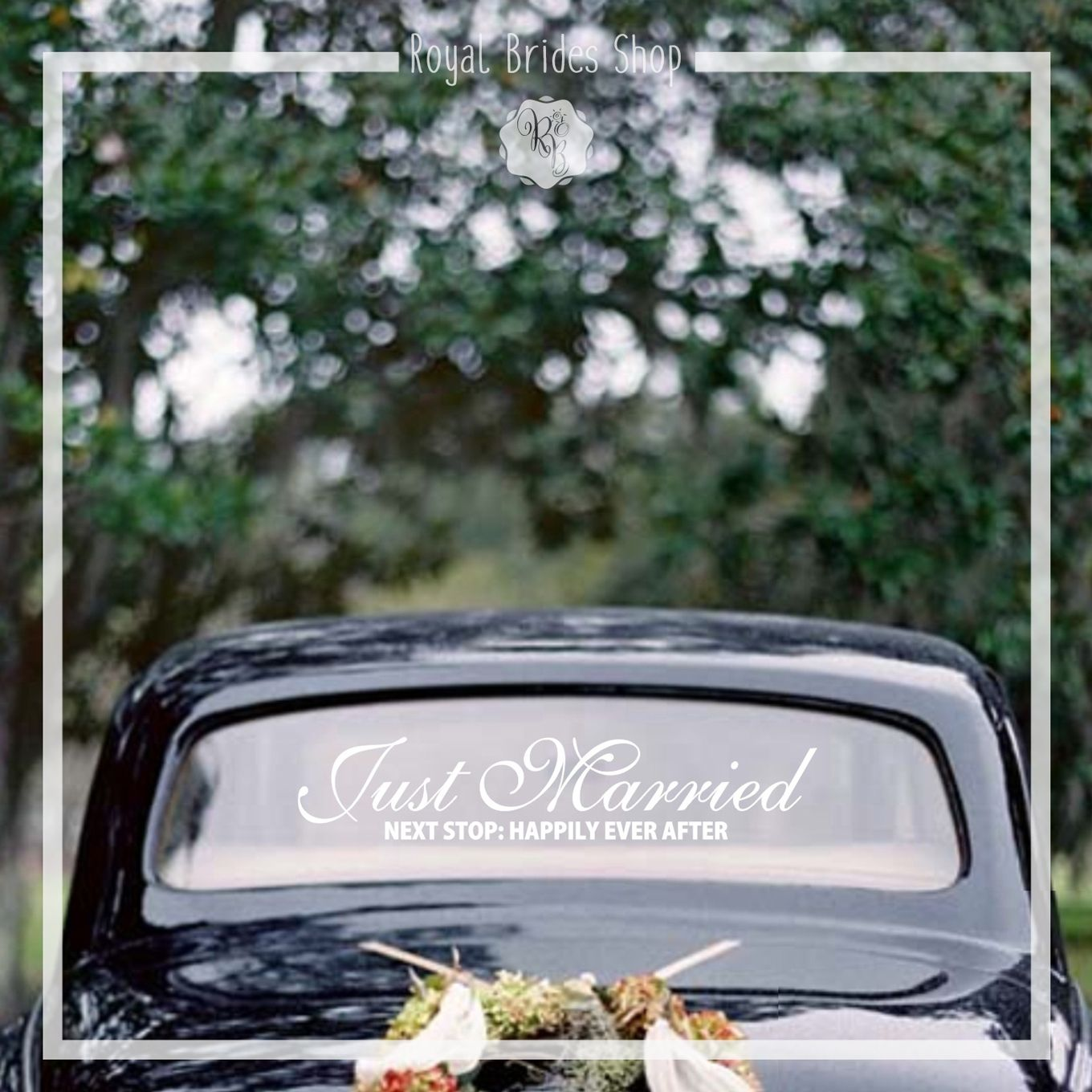 Wedding car decorations just married  Just Married Next Stop Happily Ever After Style No  wedding