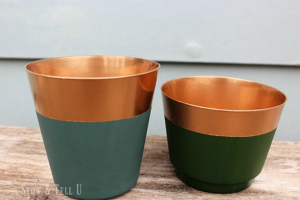 Foolishly Real Looking Copper Paint Dipped Planters Plastic Planters Paint Dipping Painted Plant Pots