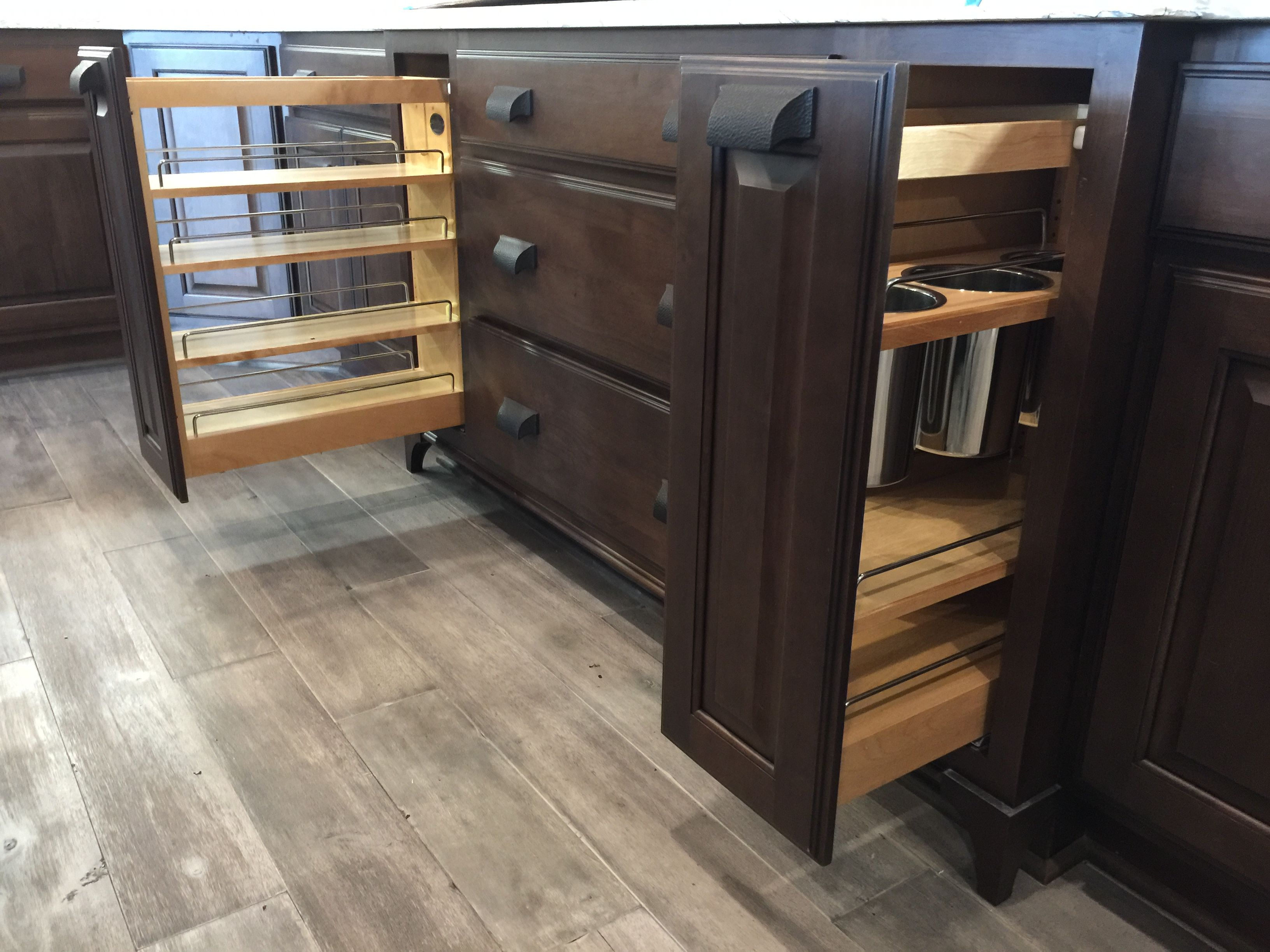 Pullout Spice Cabinet And Pullout Utensil Cabinet Learn More Builder Preferred Cabinetry Kitchen Storage Solutions Kitchen Bathroom Remodel Utensil Storage