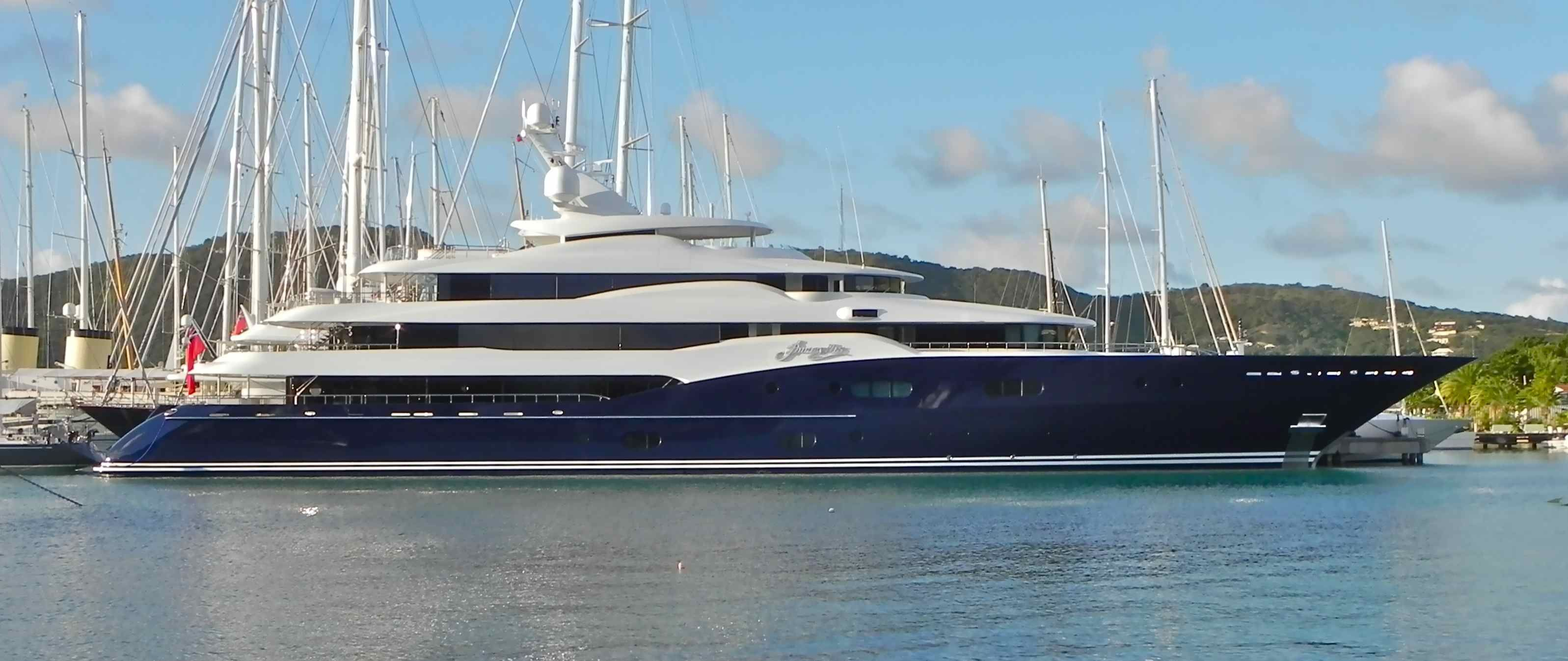 The Oceanco Amaryllis In Falmouth Harbour Antigua By Marilyn Mower