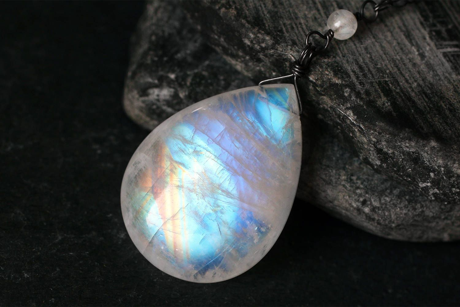 Crystal Necklace Moonstone Jewelry Large Moonstone Pendant  Necklace on Sterling Silver Gift For Women June Birthstone