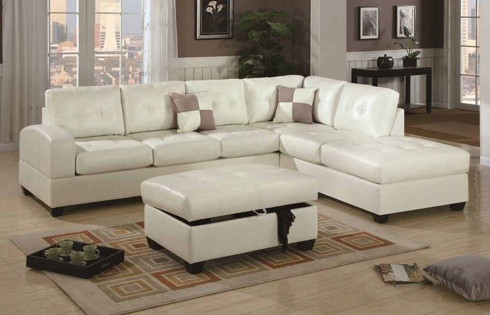 Poundex Furniture 3 Piece Sectional Set F7359 F7388 Sectional Sofa With Chaise White Sectional Sofa Leather Sectional