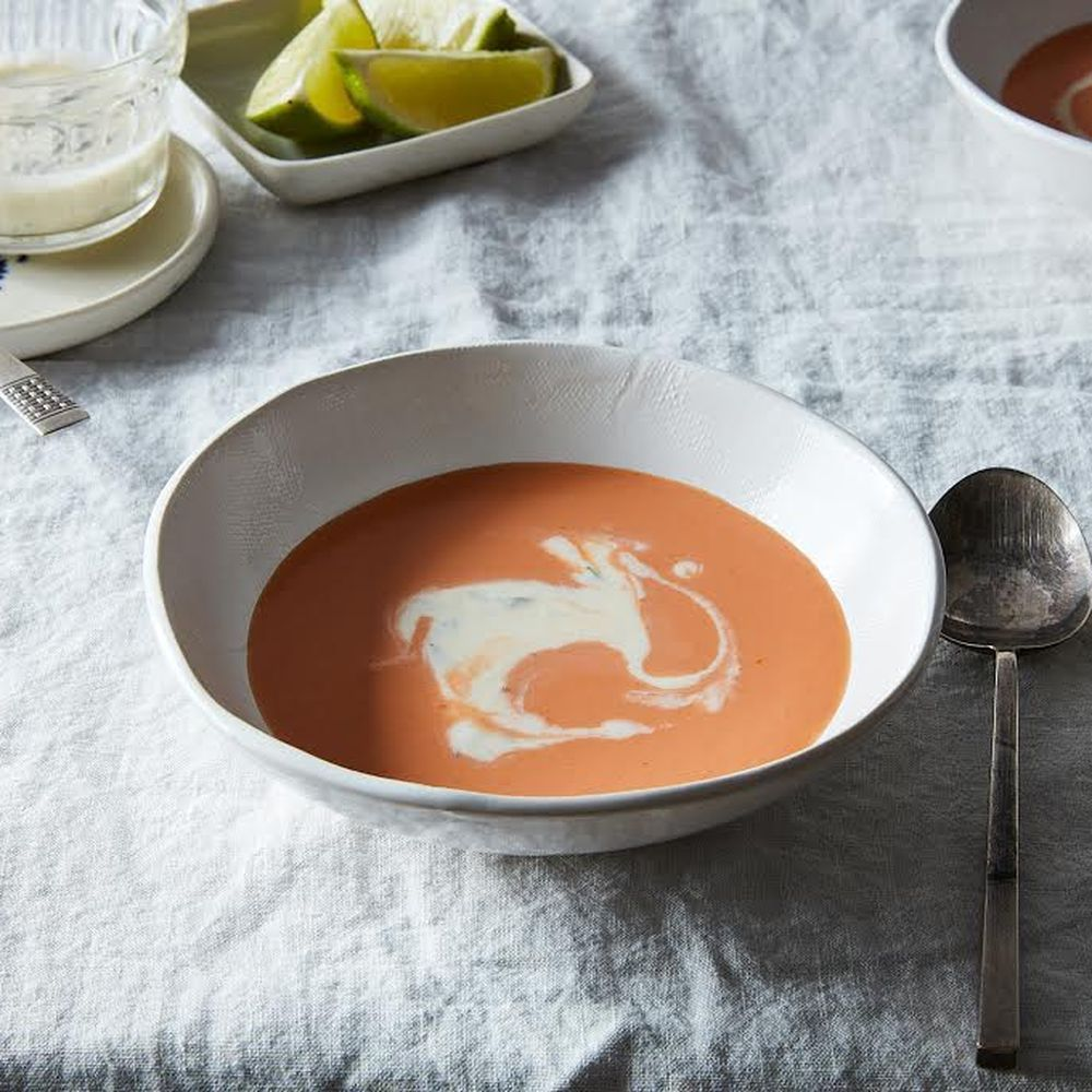 Creamy Chilled Horseradish Soup With Tomato And Green