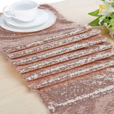 6517fd03 10 pcs 12 x 72 inches Sequin Sparkly Table Cloth Fabric Tablecloth Table  Runner Wedding Event