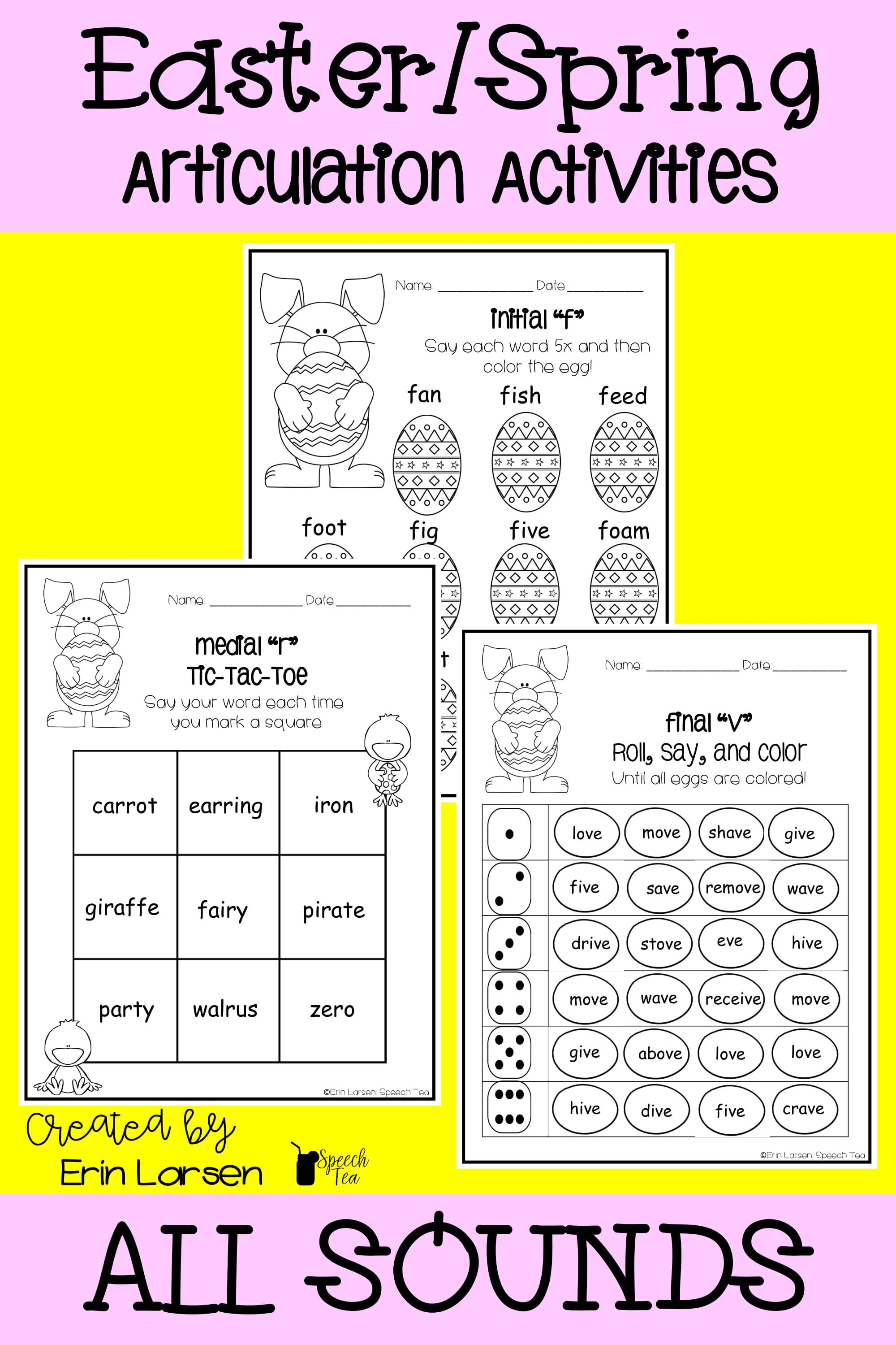 These articulation activities are great for Easter or Spring! ALL sounds included! Click for more info!