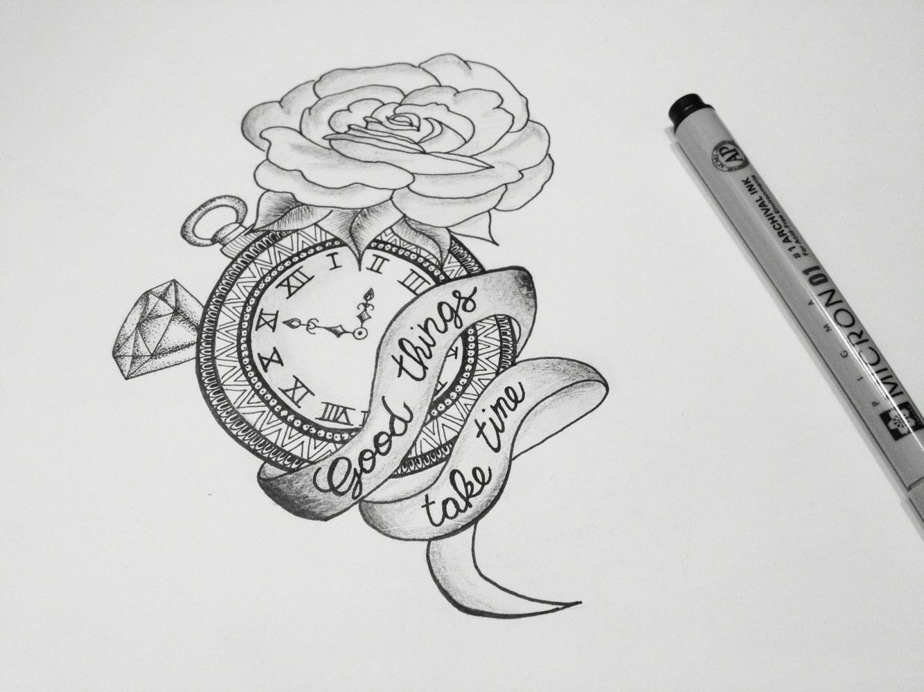 rose clock time draw good things take time my draws
