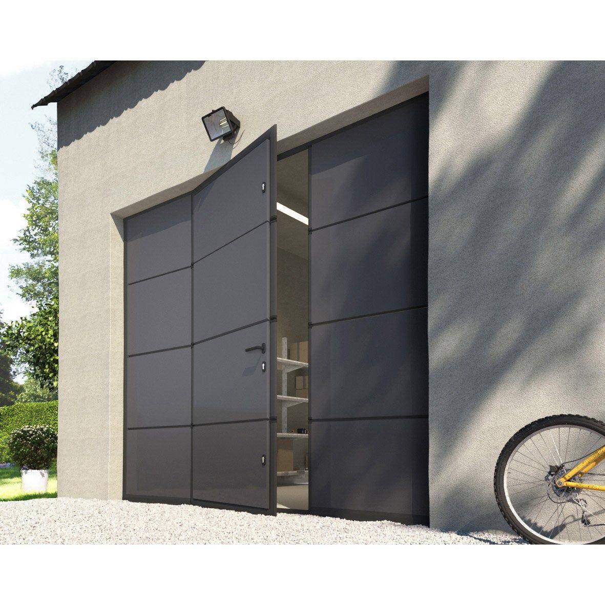 Porte De Garage Sectionnelle Motorisee Artens Essentiel 200x240cm Avec Portillon Leroy Merlin In 2020 Garage Doors Garage Transformation Sectional Garage Doors