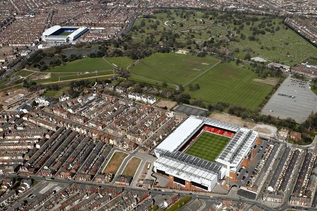 Liverpool (Foreground) & Goodison Park