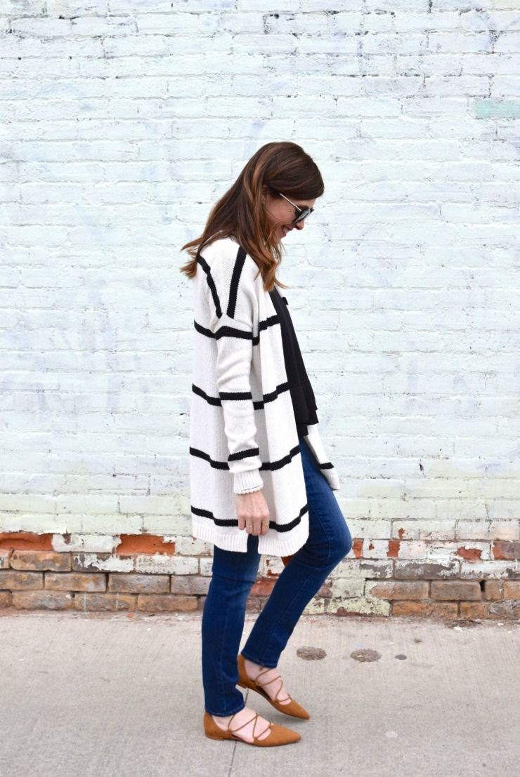 3b20cf97fb black and white striped cardigan with a black t-shirt and jeans from Loft,  outfit with skinny jeans and strappy sandals, suede strappy sandals on Art  in the ...