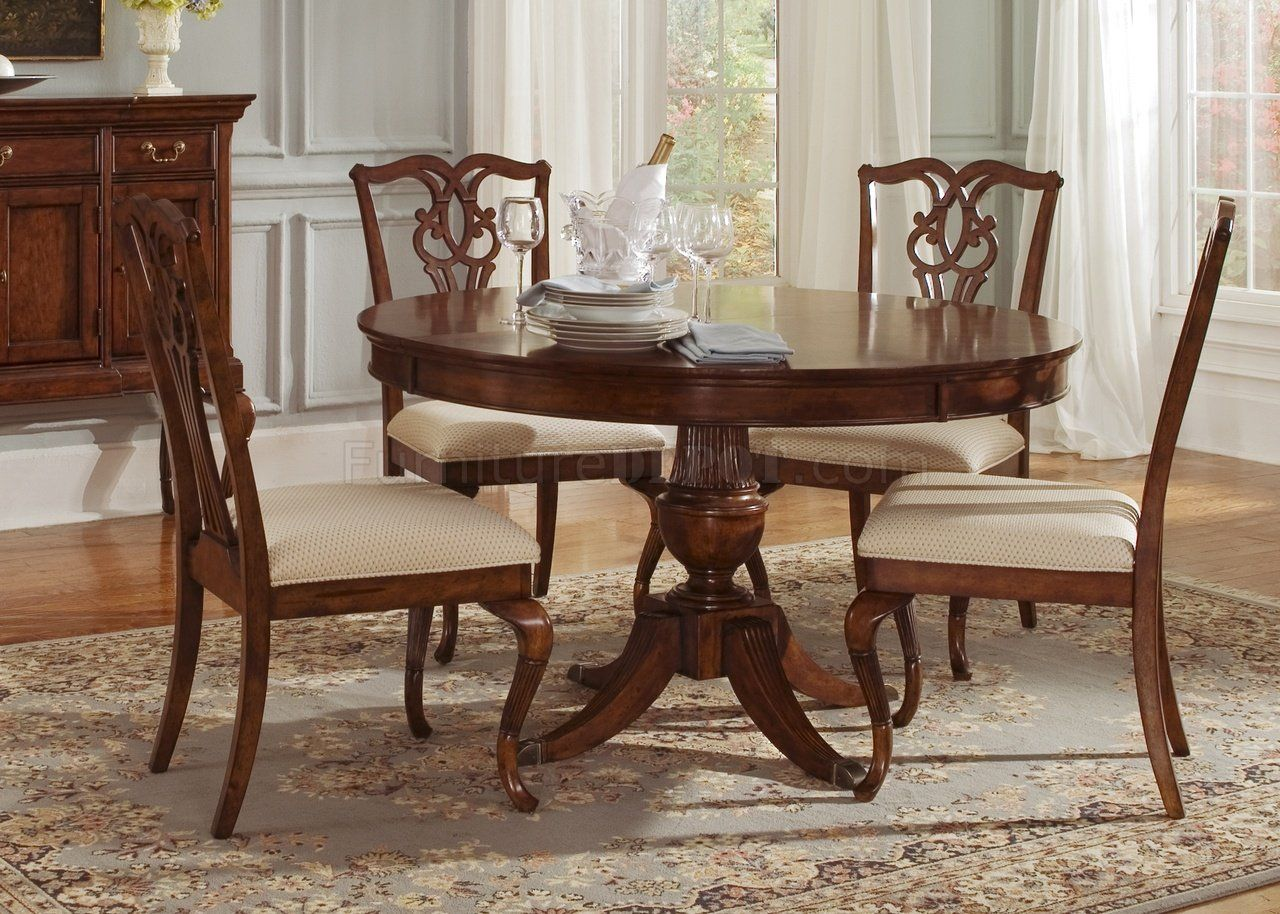Classical Dining Table Cinnamon Finish Round Classic Dining Table