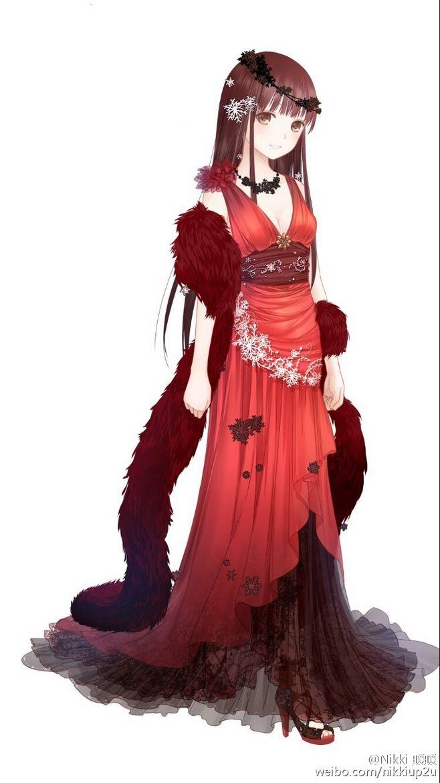 Anime Girl In Red Dress : anime, dress, Female, Character
