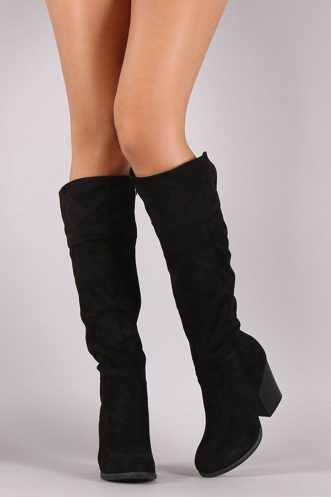 040be05cff6 Bamboo Suede Chunky Heel Knee High Boots