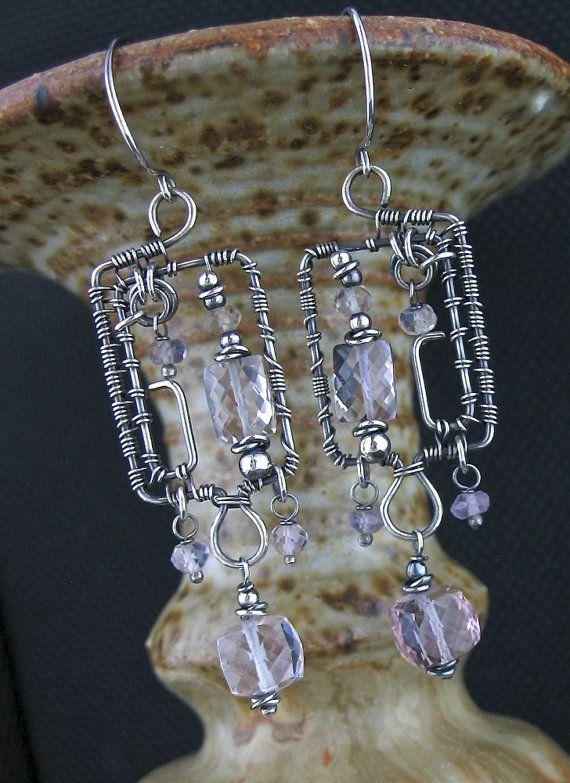 Wire Wrapped Ametrine Long Earrings - Wire Wrapped Ametrine Jewelry ...