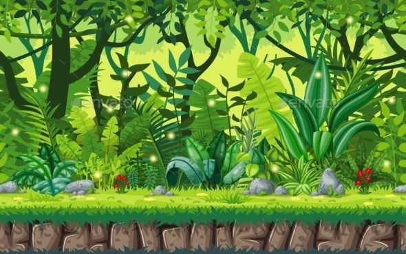 Seamless Cartoon Nature Background Nature Backgrounds Drawing Scenery Environment Concept Art
