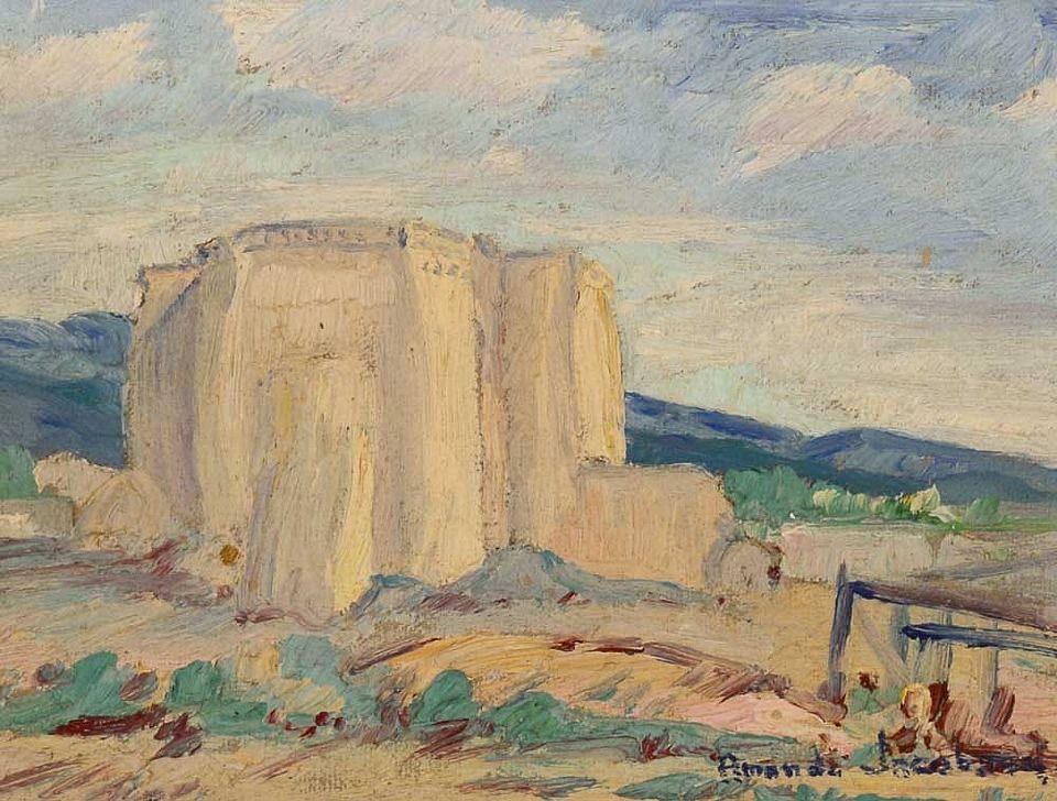 """Old Church, Ranchos de Taos,"" Amanda Jacobson, oil on board, 6 1/4 x 8 1/4"", private collection."