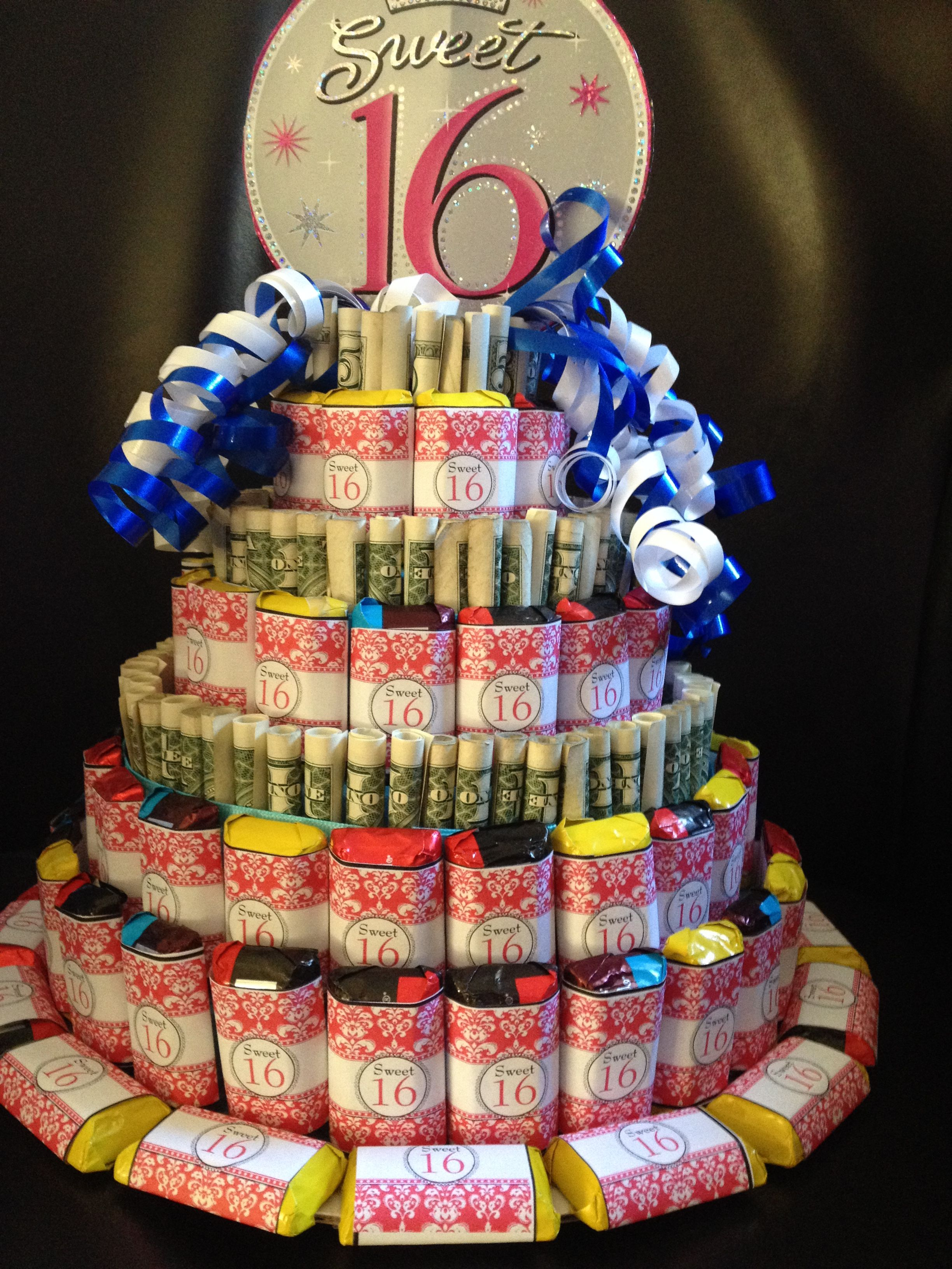 Sweet 16 Money Amp Candy Cake You Can Change The Sign And