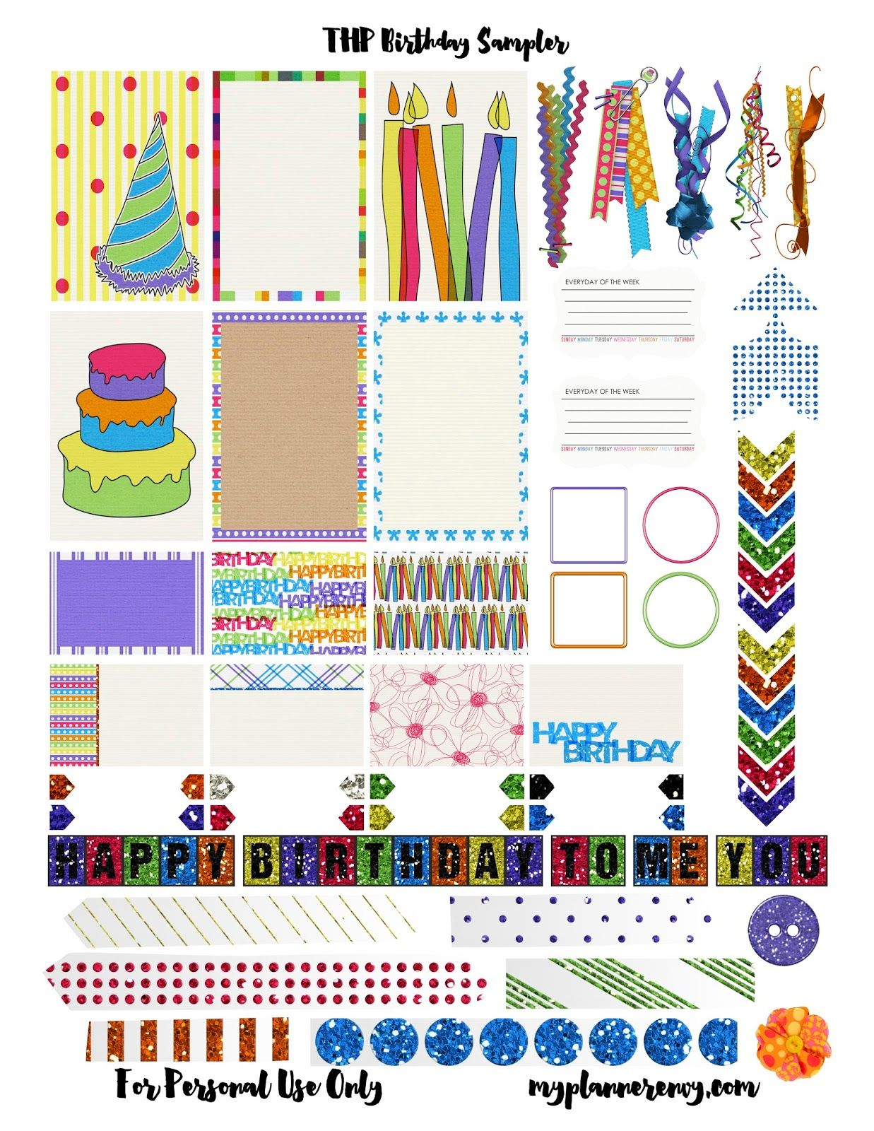 Free Printable Birthday Sampler for the MAMBI Happy Planner ... for Planner Stickers Template  131fsj