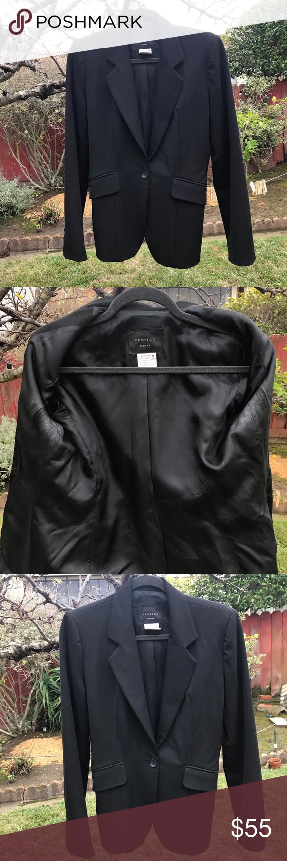 Vertigo Paris Black Dress Blazer Medium Euc Blazer Dress Blazer Workwear Fashion [ 1740 x 580 Pixel ]