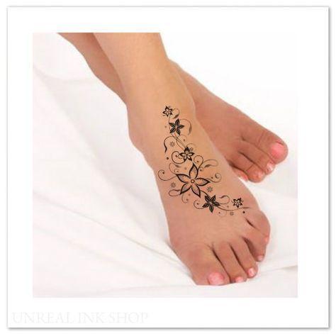 Tatouage Temporaire Fleur Impermeable Pied Faux Par Unrealinkshop